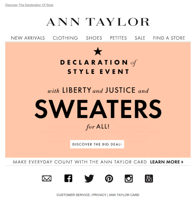 Ann Taylor President's Day email 2015