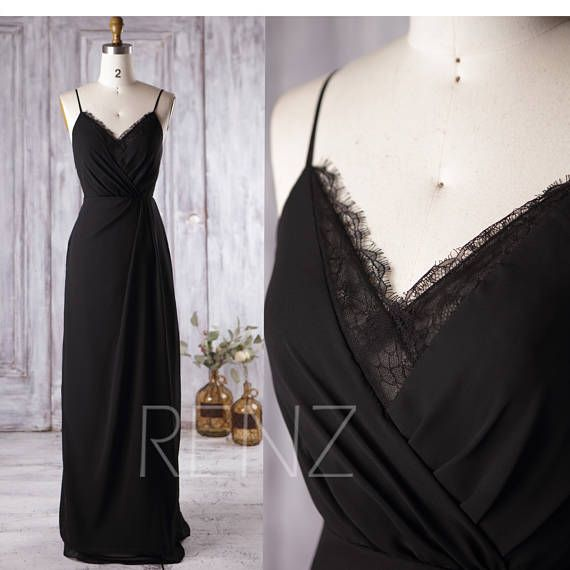 Wedding Dress Black Boho Lace V Neck Long Bridesmaid Dress Simple Wedding Dresses Chiffon Prom Dress for Women (L136) #lacebridesmaids