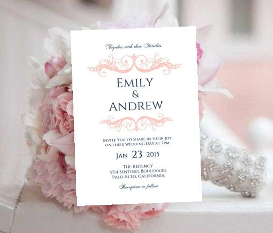 Wedding Invitation Template Printable Blush Navy INSTANT Download - invitation download template
