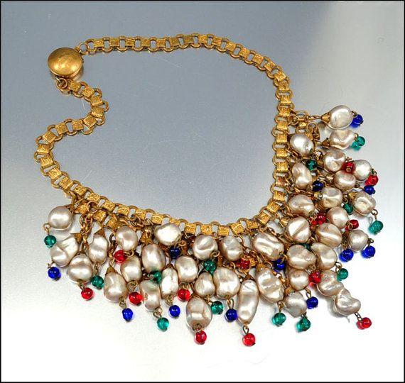 Miriam Haskell Baroque Pearl Art Deco Necklace
