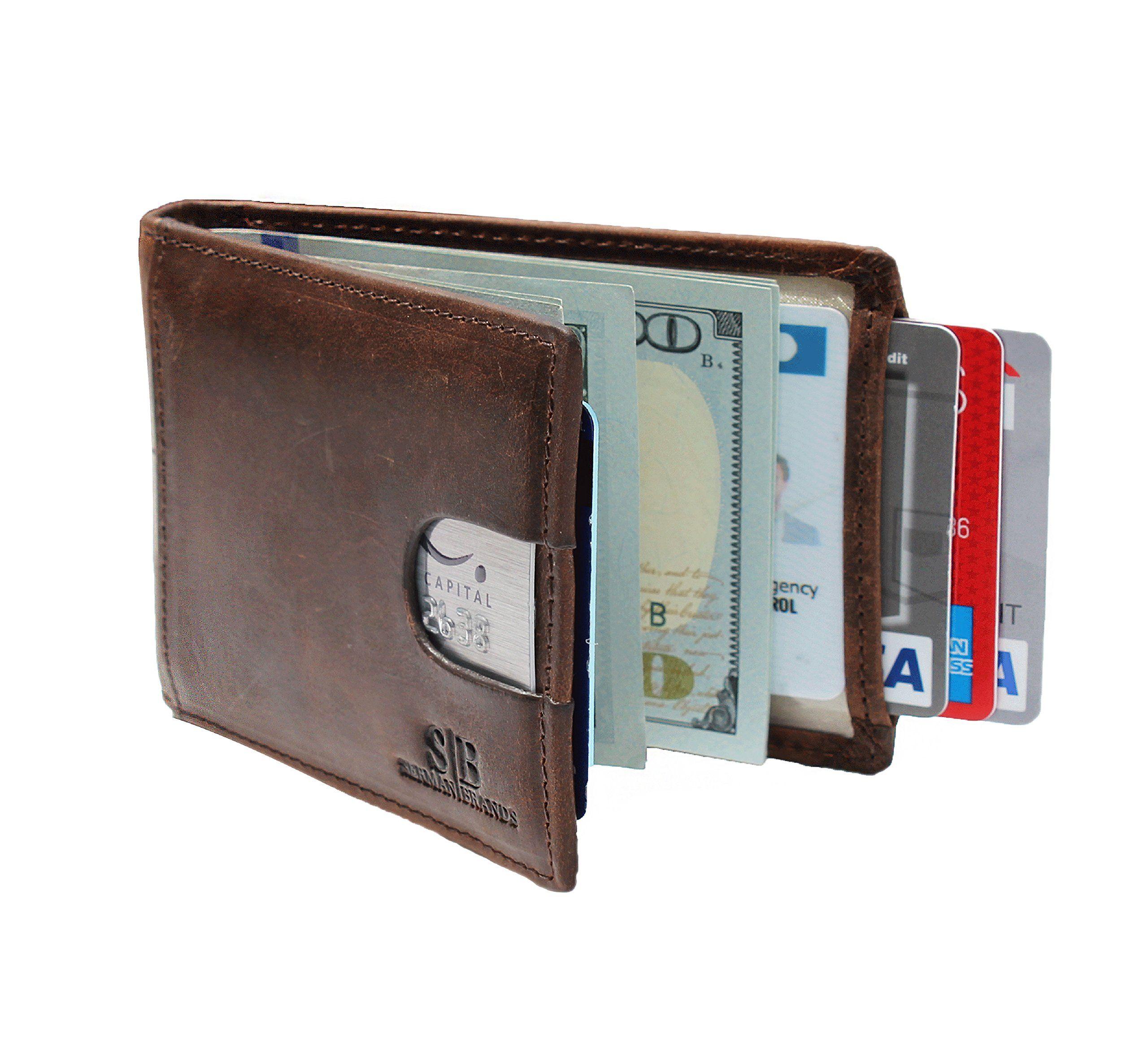 Mens RFID Blocking Slim Front Pocket Wallet Thin Leather Credit Card Holder Safe