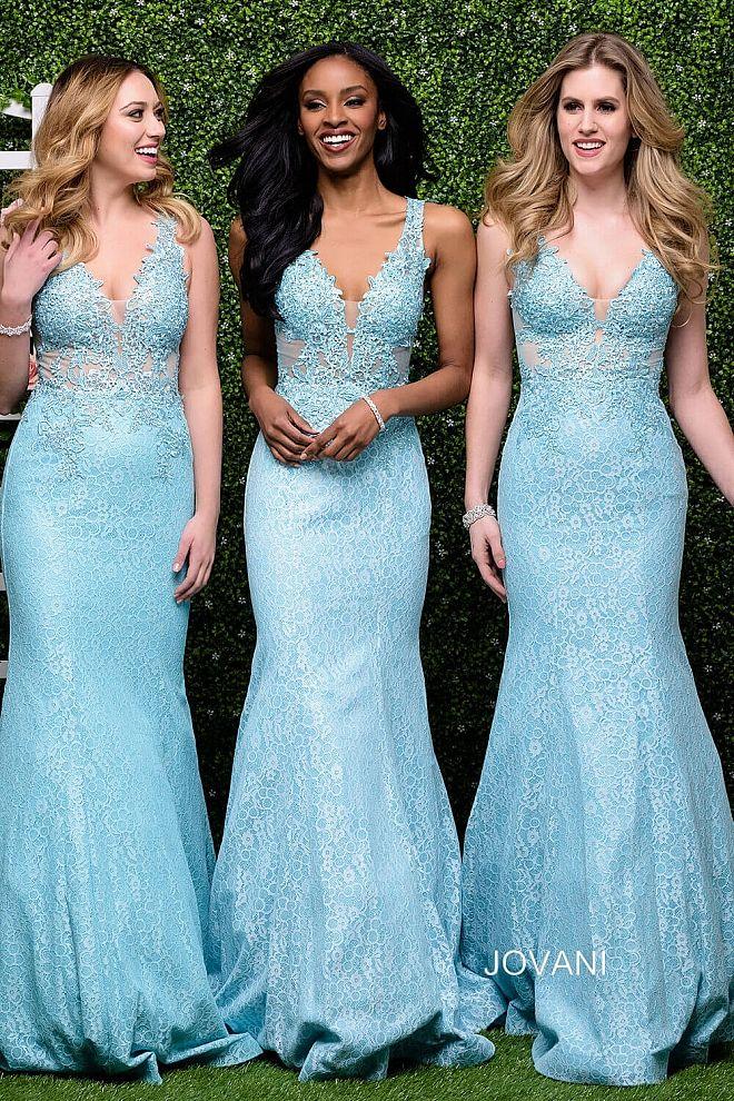 d902e5837bc Blue Plunging Neckline Lace Mermaid Dress 47561