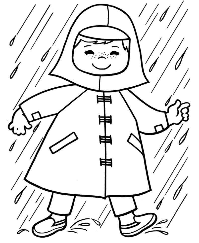 Spring Raincoat Coloring Page From Nature Coloring Pages Category