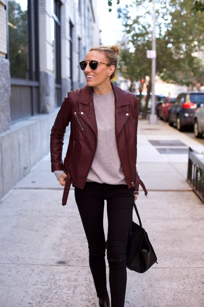 ed9bfdf1 Burgundy Leather-NYC Street Style-Black Denim | Winter Outfits ...