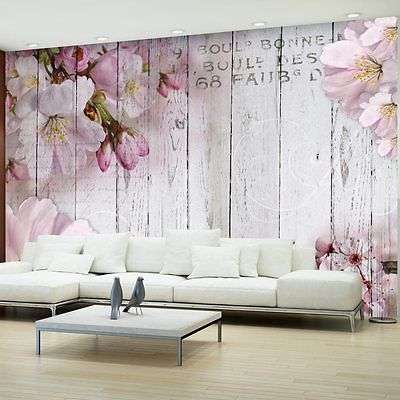 Details zu Fototapete Holz Optik Bretter Vlies Tapete Blumen ...