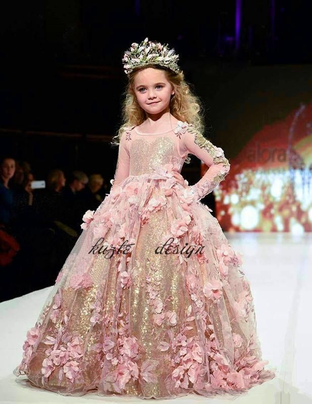 Cheap Blush Gold Sequined Ball Gown Girls Pageant Dresses Long ...