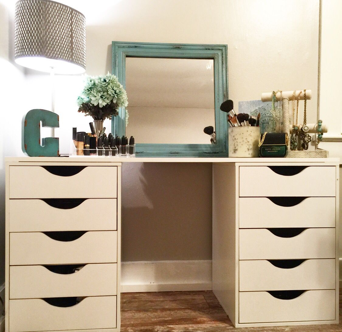 So happy to say I created this cute vintage vanity all on my own. Share away!