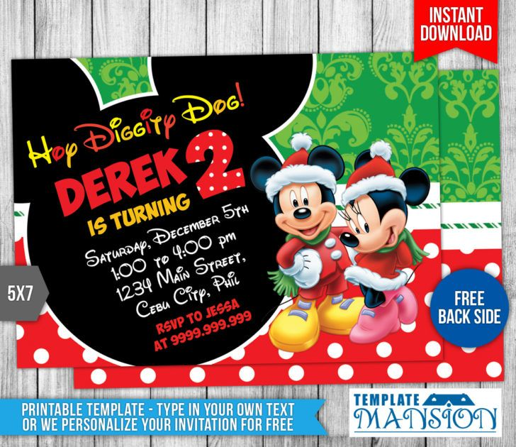Birthday Mickey Mouse Christmas Bday Party Invitation Template - Mickey mouse birthday invitation template