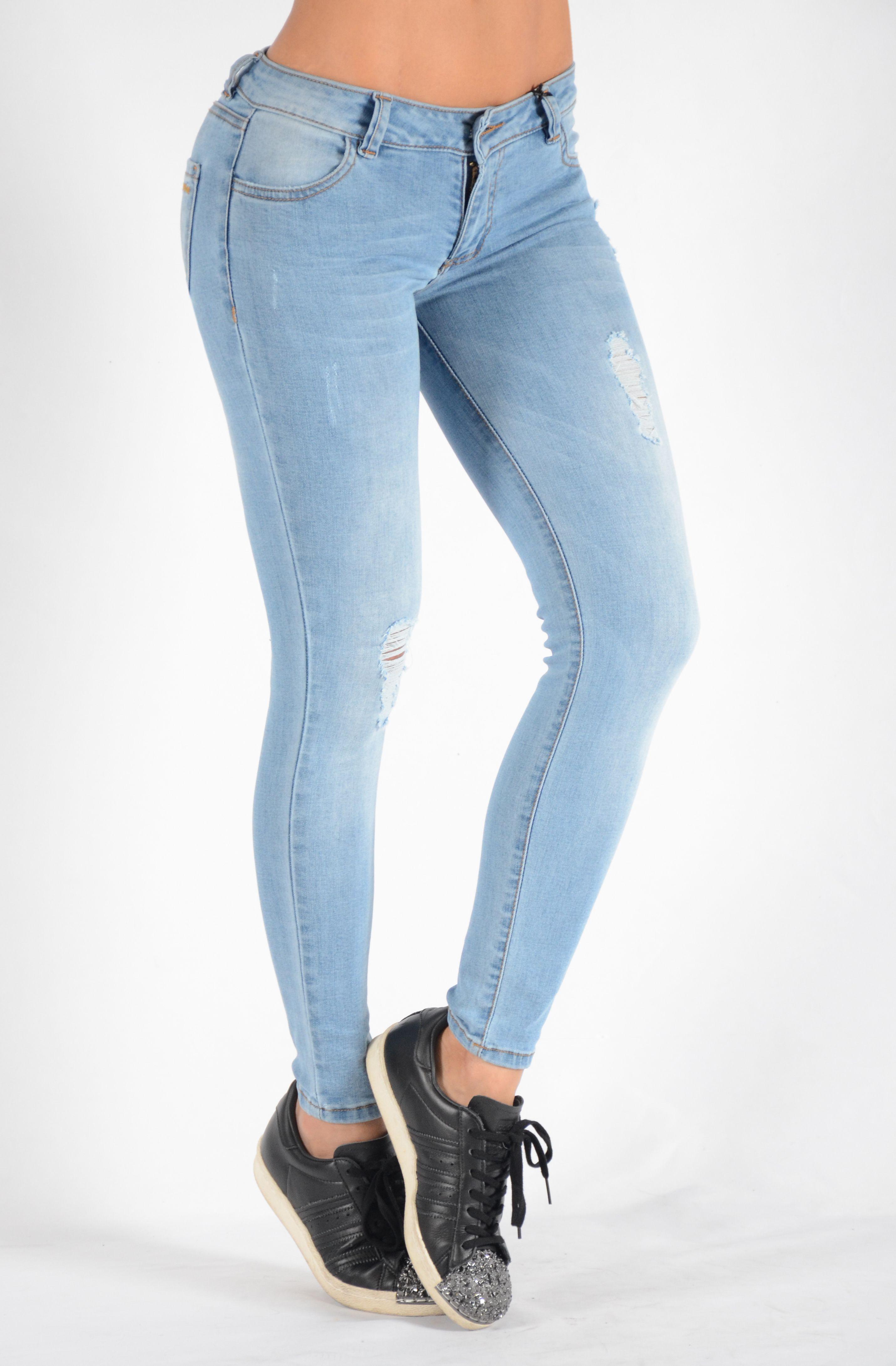 a77f883f40 Jean colombiano - Jean claro con desgaste