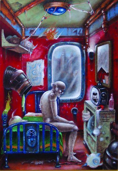 """Pintura de Piter  Saura. óleo/tabla/dimensiones:114x146. título: """"EL HOMBRE CANSADO"""""""