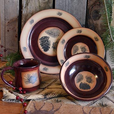 Click to buy Pine Cone Dinnerware Red Lodge Pinecone Dinnerware Set from The Cabin Place & Click to buy Pine Cone Dinnerware: Red Lodge Pinecone Dinnerware Set ...