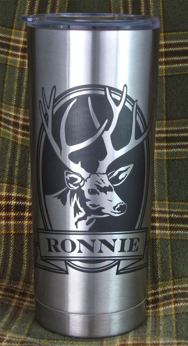 1 Personalized Insulated Cup Mule Deer Stainless Steel Hot Cold