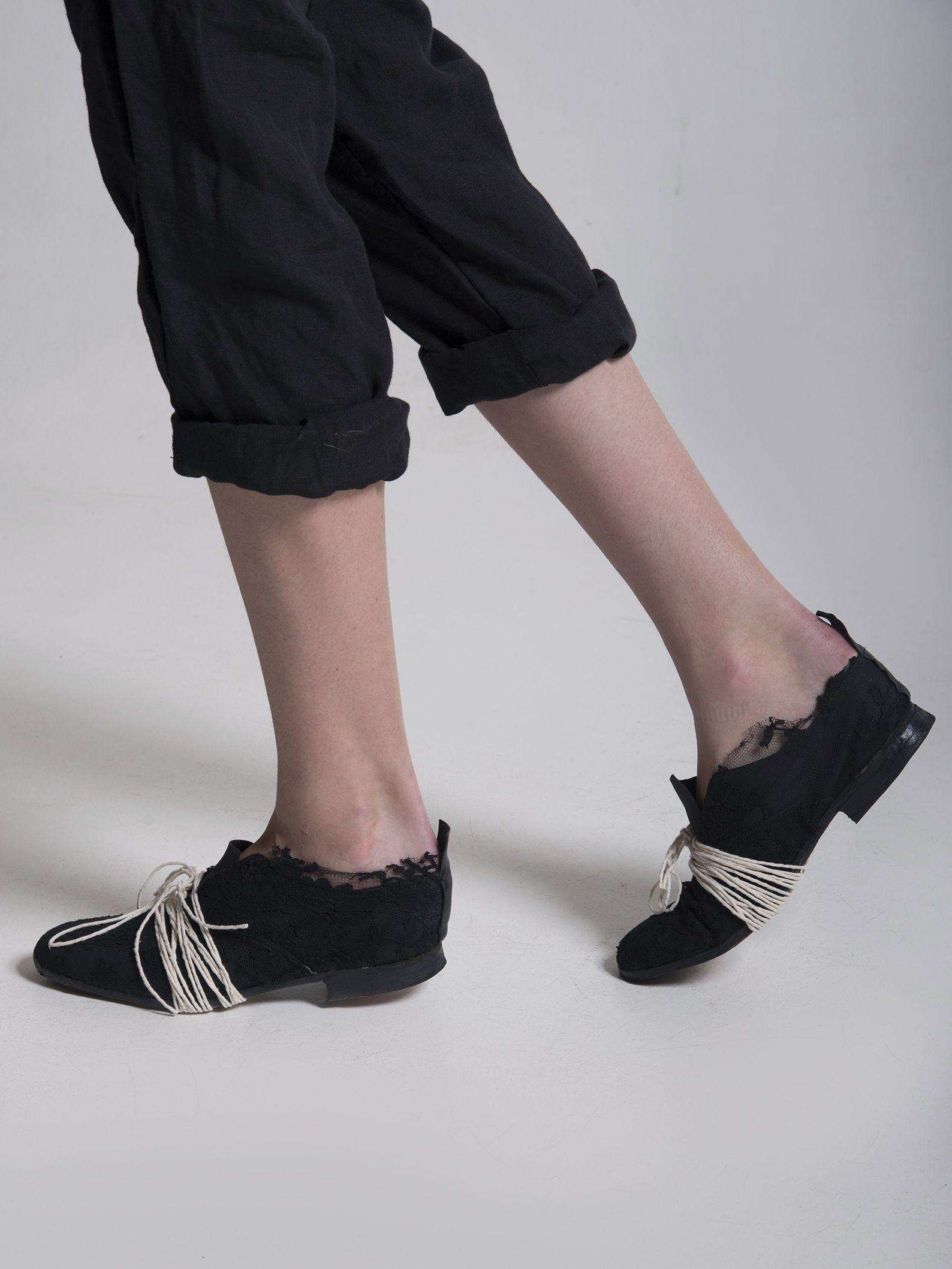 Elena Leder Dawson Leder Elena Lace Up Schuhes with Lace Appliqué | Elena dawson 5459de