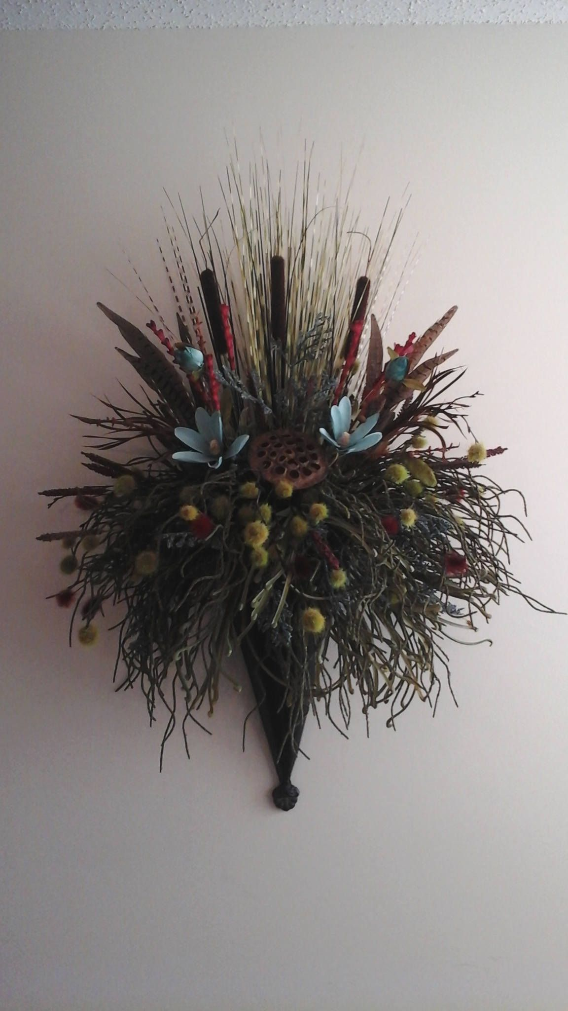 Floral Wall Sconce, Wall Planter, Wall Pocket, Floral ... on Pocket Wall Sconce For Flowers id=44865