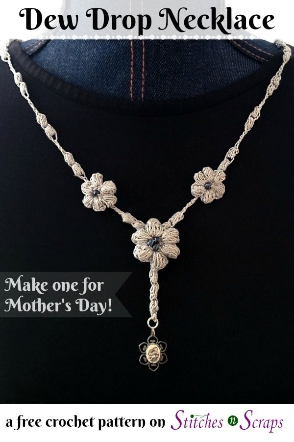 Free Pattern - Dew Drop Necklace | Simple flowers, Craft fairs and ...