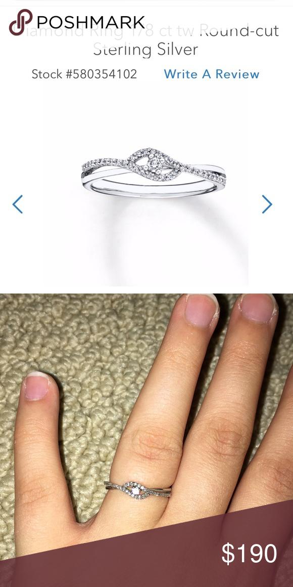 Diamond Ring 1 8 Carot Sterling Silver In 2020 Womens Jewelry Rings Diamond Ring Sterling Silver Diamond Rings