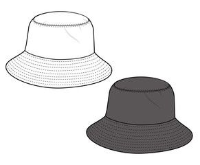 033cf0f3afd683 Bucket hat vector illustration flat sketches template | pro draw in ...