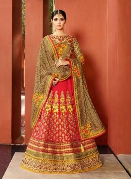 Red Ethnic Indian Punjabi Wedding Designer Lehenga Choli In Art Silk