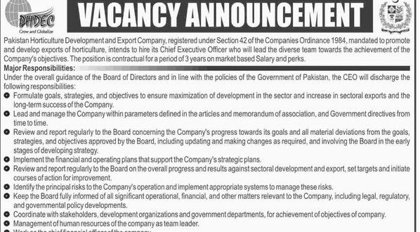 Jobs in Pakistan Horticulture Development and Export Company for