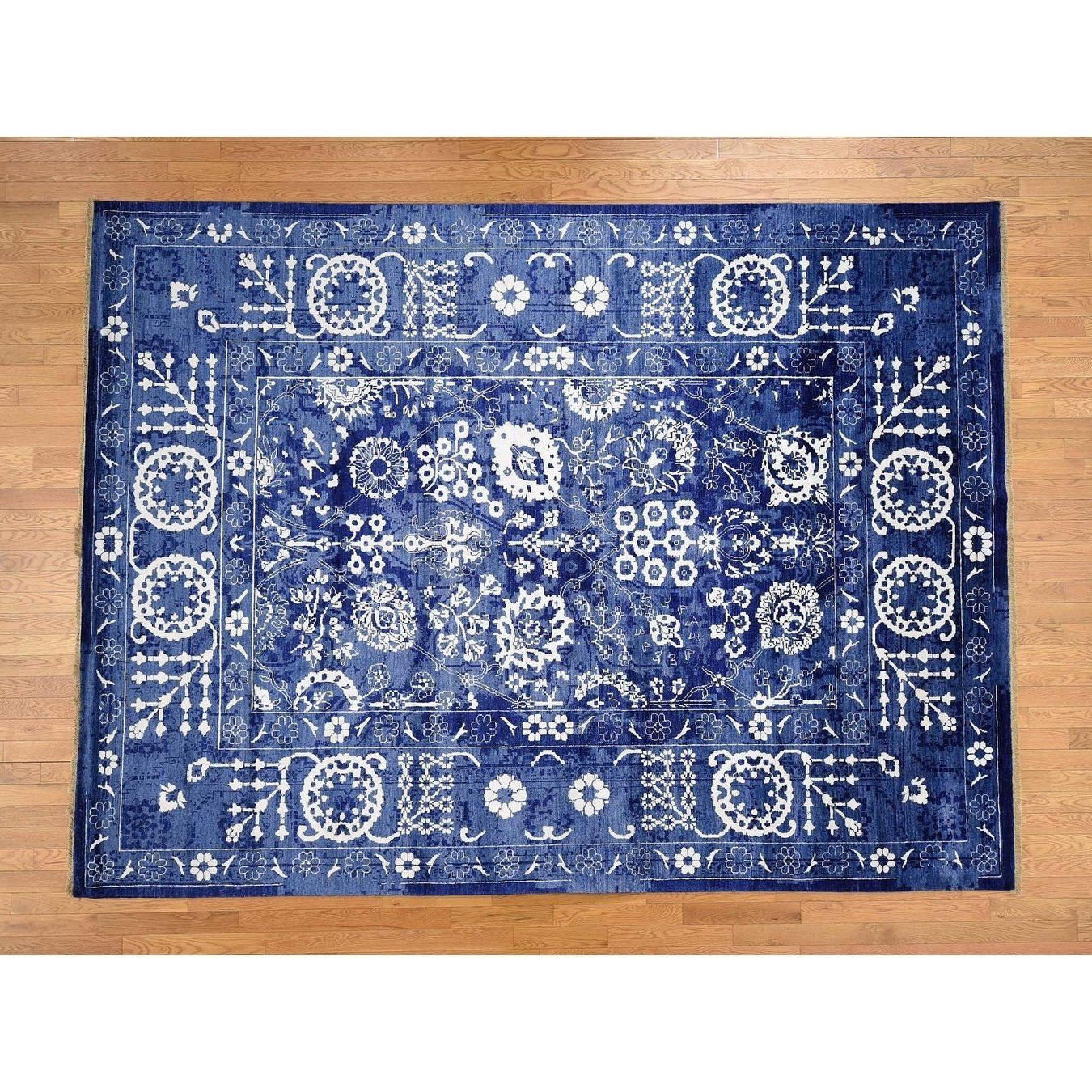 Hand Knotted Blue Modern Contemporary With Wool Oriental Rug 10 X 14 10 X 14 Blue Area Rugs Area Rugs Colorful Rugs