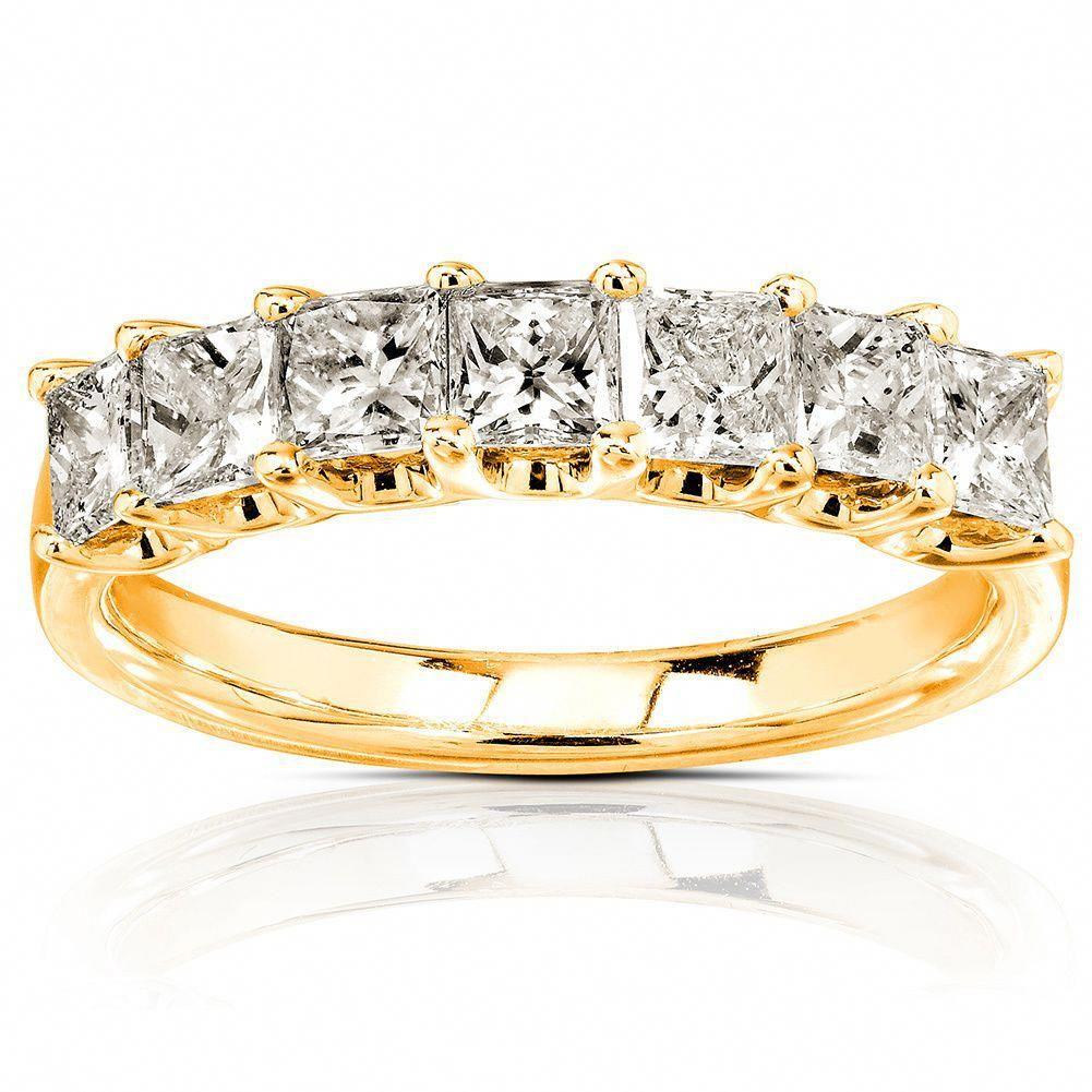 Annello k yellow gold princesscut diamond band carat size