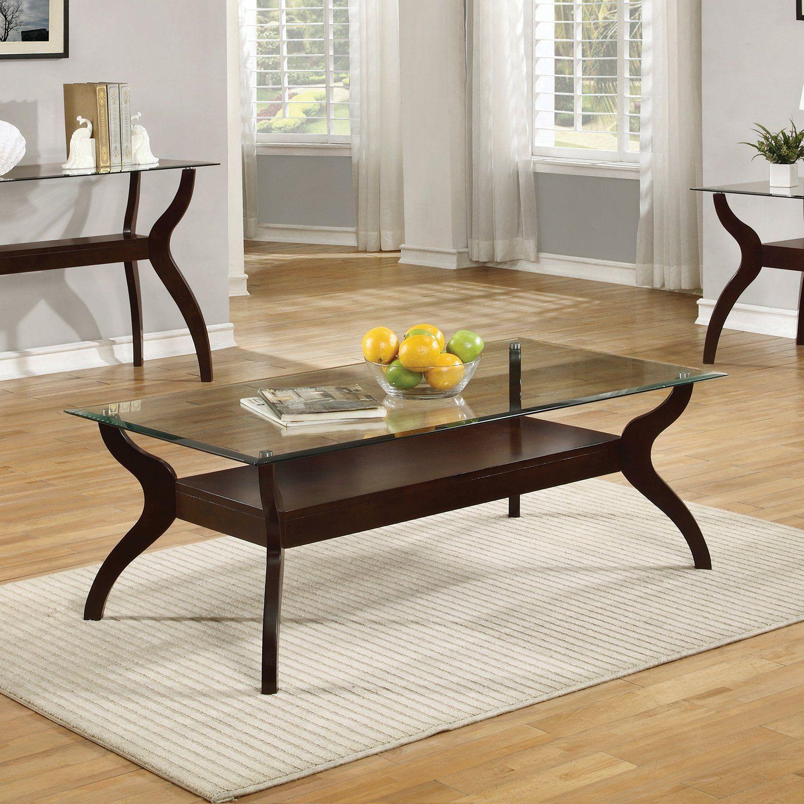 Coaster Furniture Cappuccino Glass Top Coffee Table