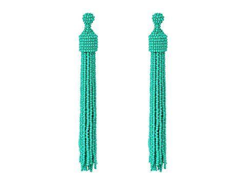 Kenneth Jay Lane Turquoise Seed Bead Tassel Post Ear Earrings (Turquoise) Earring PLKtJr0F6o