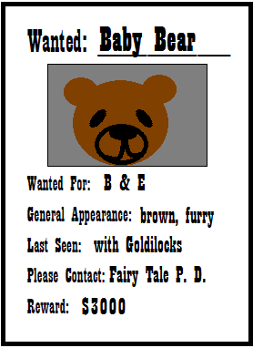 Printable Wanted Posters New Bulletin Board Idea When Teaching Fractured Fairy Talesfree .