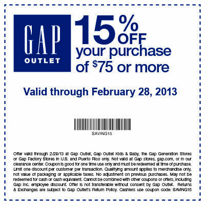 Get 15% off $75 at Gap Outlet In-store Printable Gap Coupon this ...