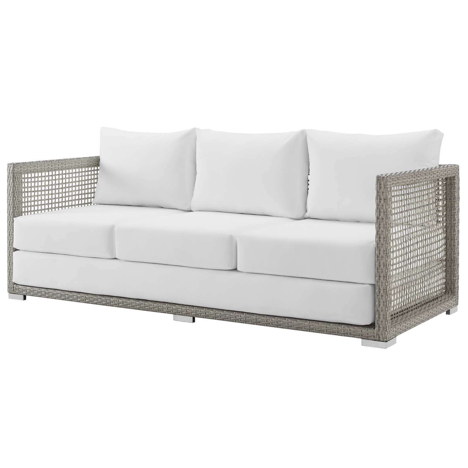 Modern Contemporary Urban Design Outdoor Patio Balcony Garden Furniture Lounge Sofa Rattan Wicker Grey Gray White Walmart Com Outdoor Sofa Patio Sofa Lounge Sofa