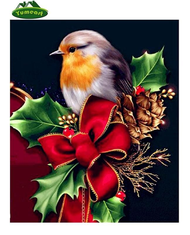 5D DIY Diamond Painting. Robin in Red Christmas Ribbon #ribboncrafts