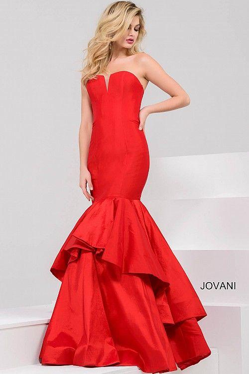 Red Strapless Mermaid Taffeta Dress 32901 | Sunburst | Pinterest ...