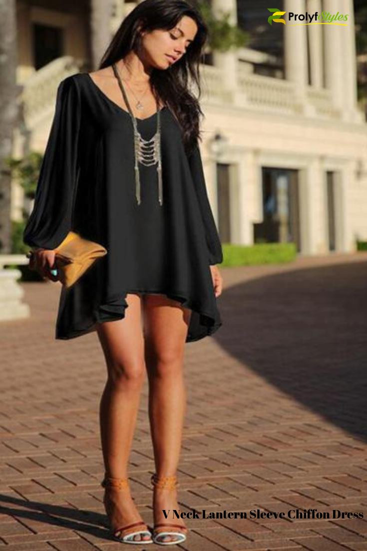 Black Mini Chiffon Dress