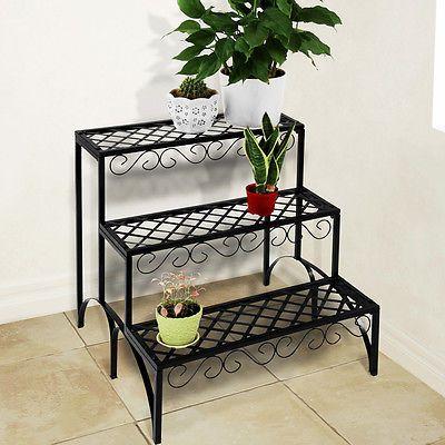 Iron Plant Stand Shelf 3 Tier Garden Home Patio Indoor Outdoor Pots Storage