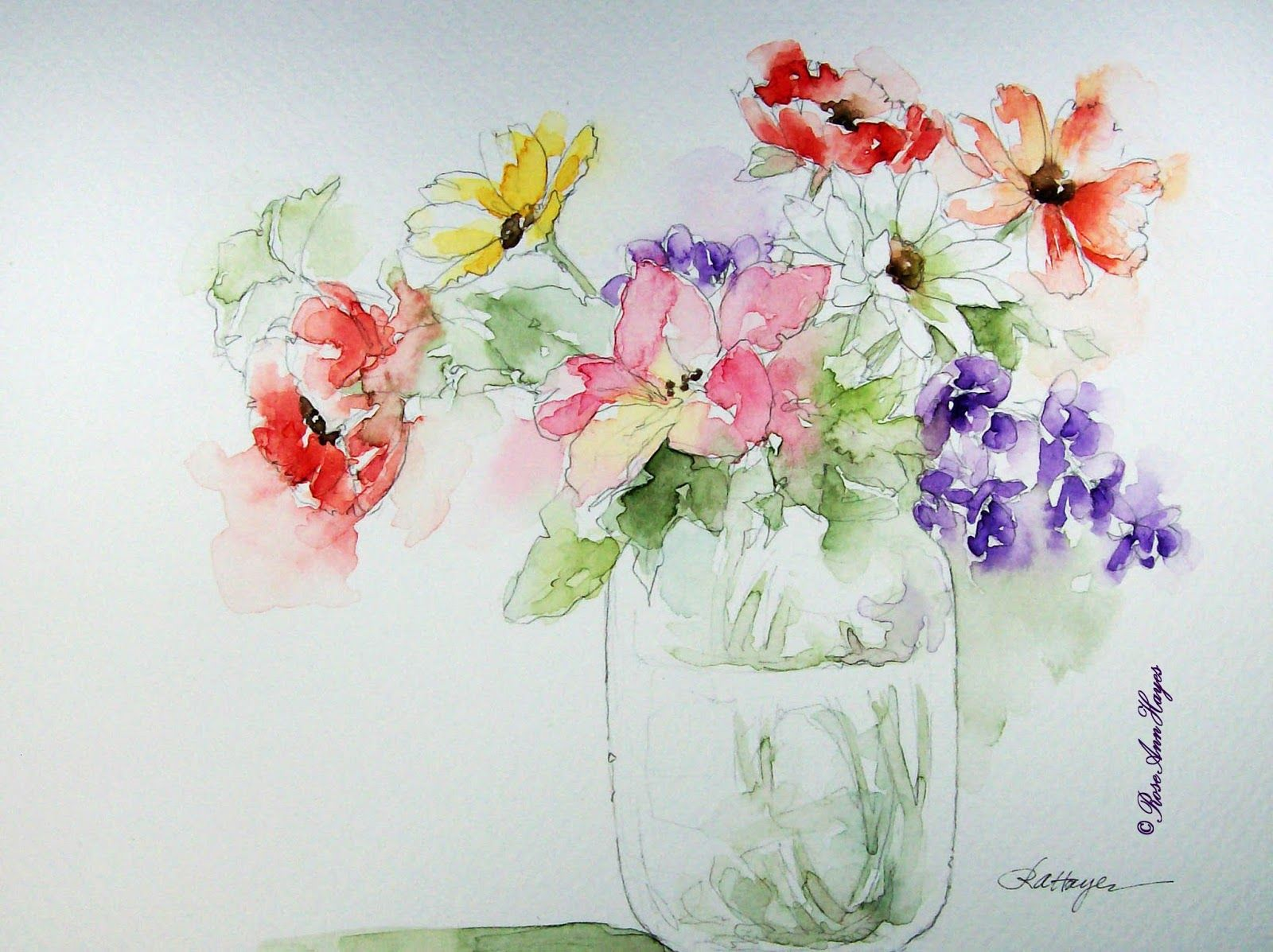 simple watercolor flower paintings watercolor painting