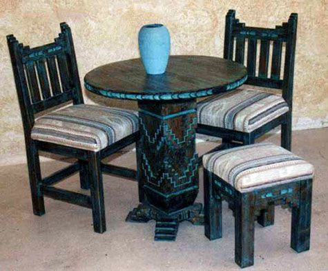 Laguna Accent Tables With New Mexico Chairs  Stool Log Home
