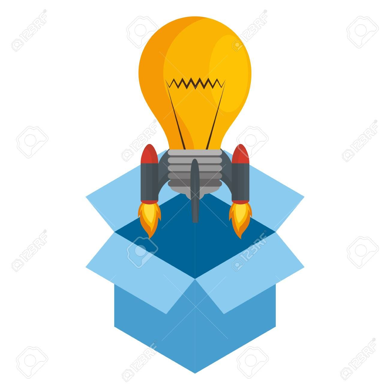 Bulb Rocket Launcher In Box Vector Illustration Design