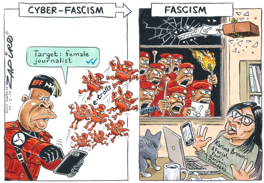 Cyber-Fascism #KarimaBrown #JuliusMalema Attack on Karima Brown - Zapiro March 2019