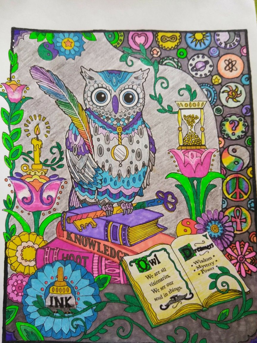 From The Creative Haven Owl Book Colored With Sharpies Gel Pens And Colored Pencils Owl Coloring Pages Creative Haven Coloring Books Coloring Pages