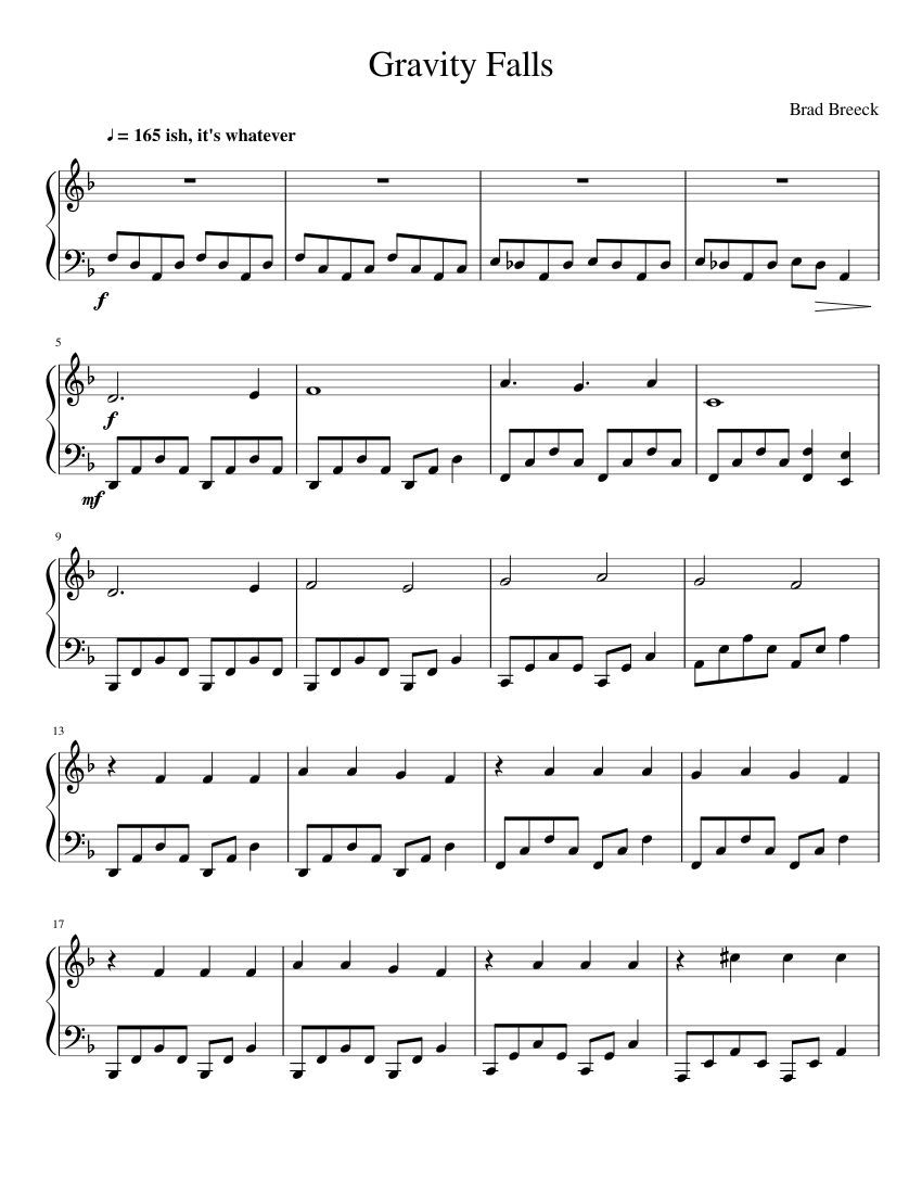 Print And Download In Pdf Or Midi Gravity Falls All In The Title
