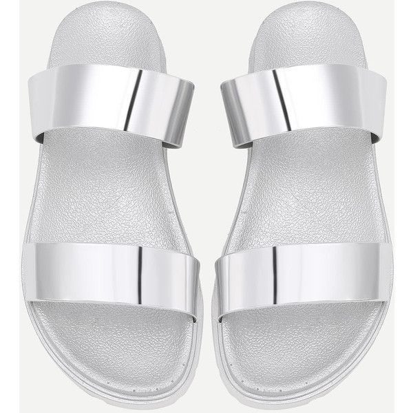 4dfefdfa4989 SheIn(sheinside) Metallic Strappy Slides ( 21) ❤ liked on Polyvore  featuring shoes