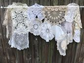 Curtain Shabby Cottage Chic Vintage Doilies Window Treatment Nordic chic Shabby Elegance Boho Gypsy Curtain French Country