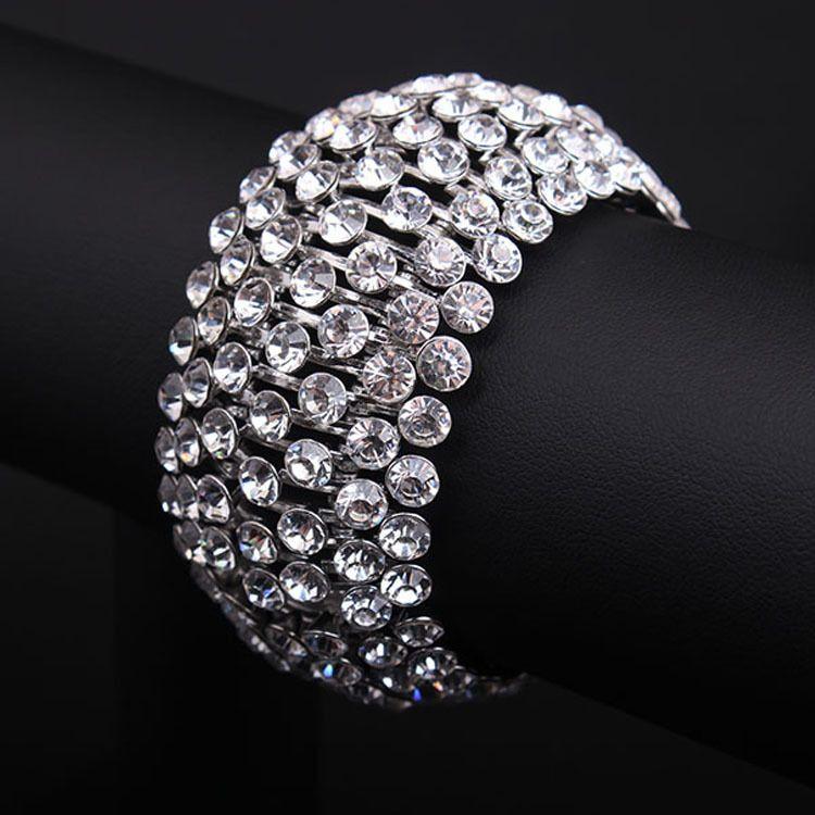 European and American luxury exaggerated super flash wide bracelet metal bracelet  female big elastic fashion 0585. Wedding BraceletStretch ... 54b4f15fb966