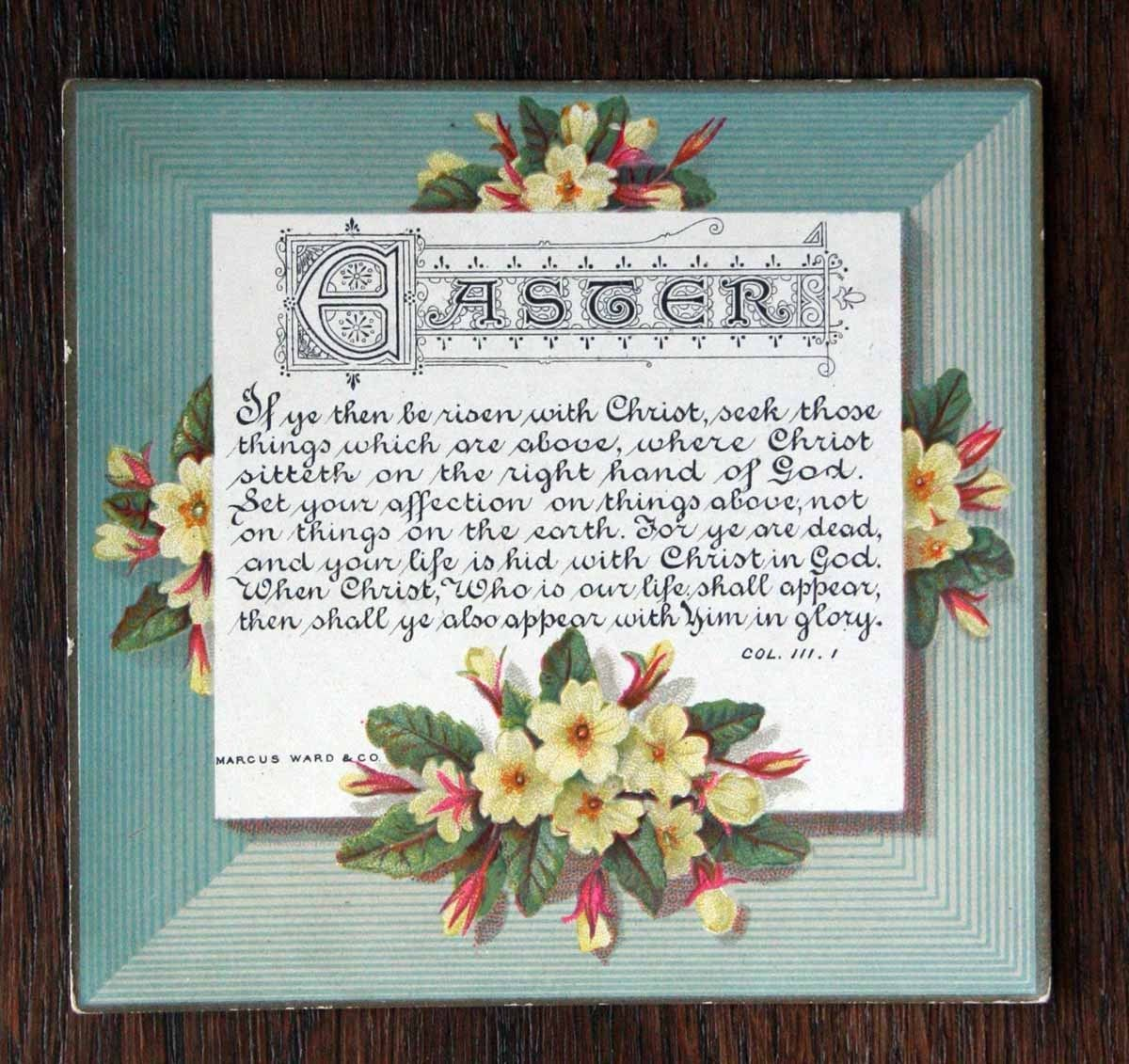 Victorian Easter Greetings Card Marcus Ward Religious Primroses