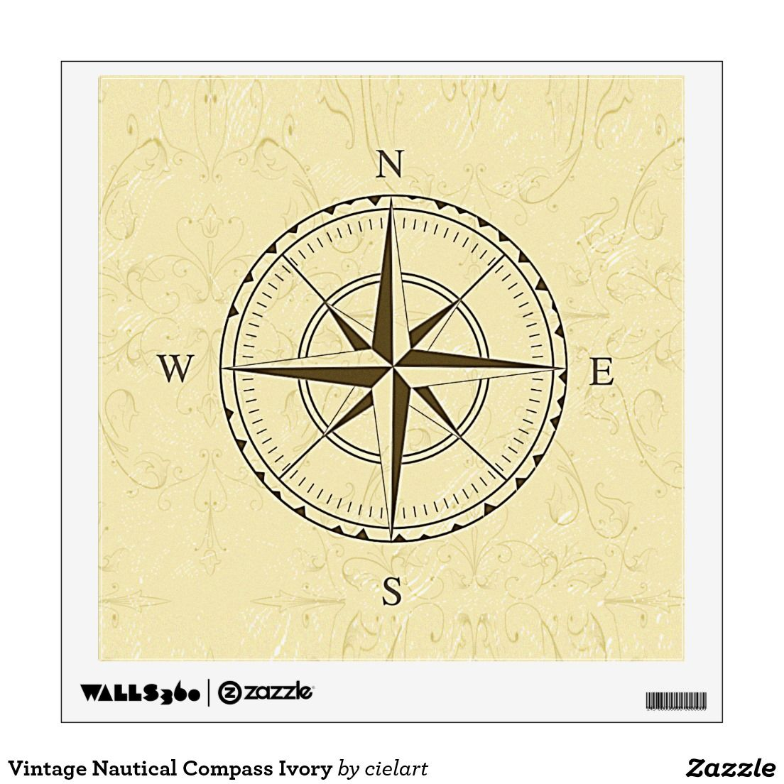 Vintage Nautical Compass Ivory Wall Decal | Vintage Nautical Compass ...