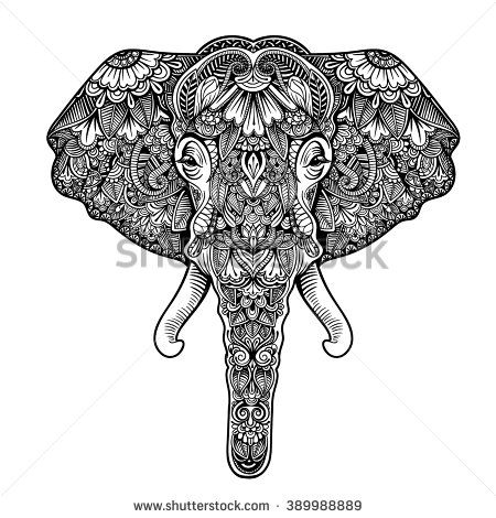 Vector Black and White Henna Elephant