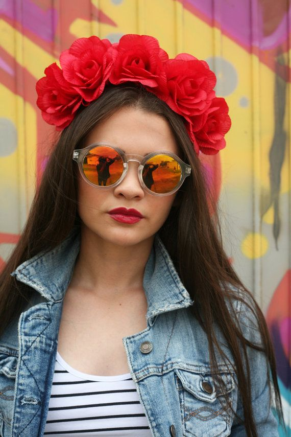 Neon Red Rose Flower Crown Headband (Floral Crown Mexican Wedding Flower Halo Bridal Gypsy Hipster Raver Plur EDC Edm Music Festival ACL) #crownheadband
