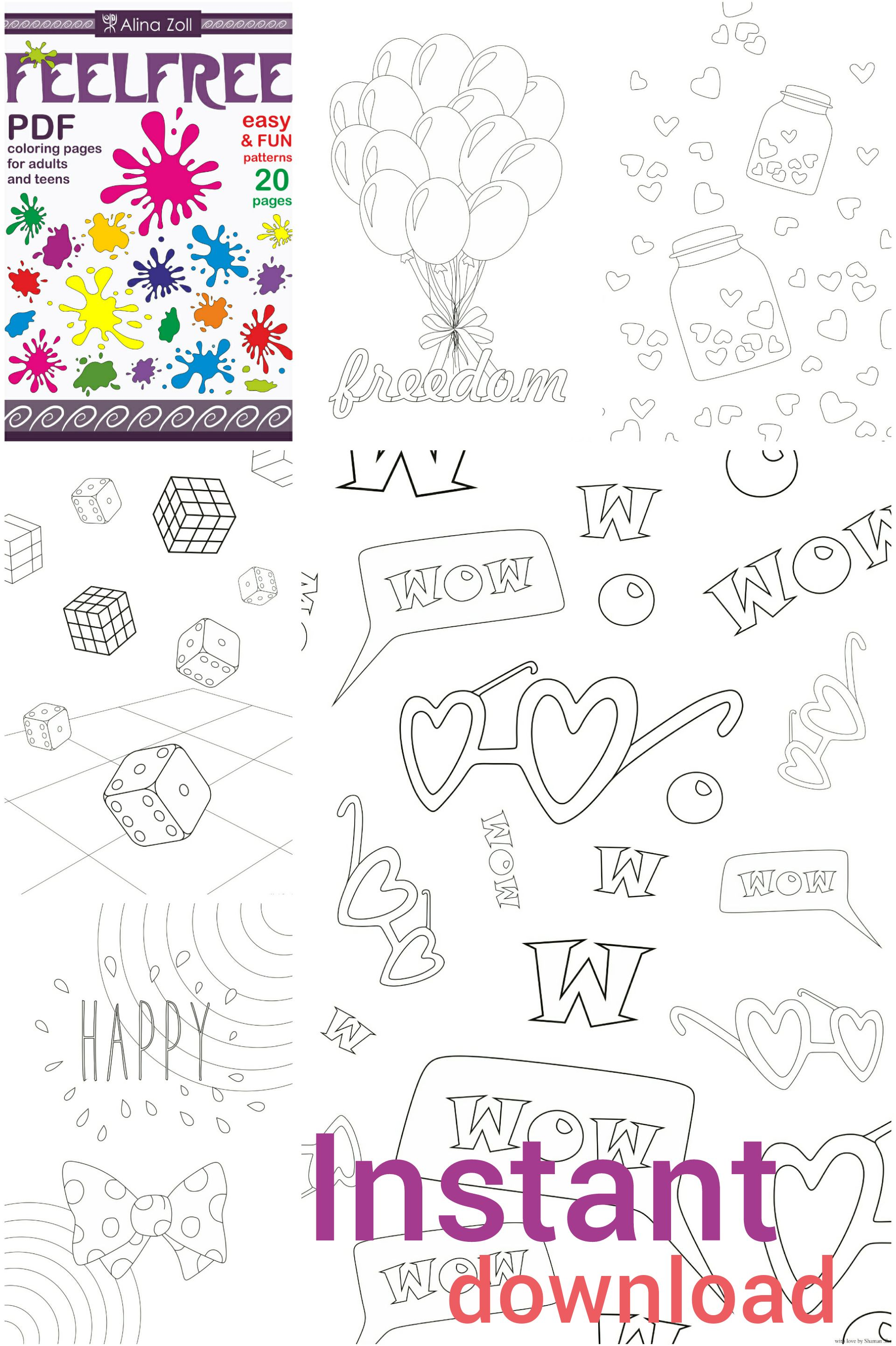 Fun Adult Coloring Book Digital Download Pdf Simple Pages For Grown Ups