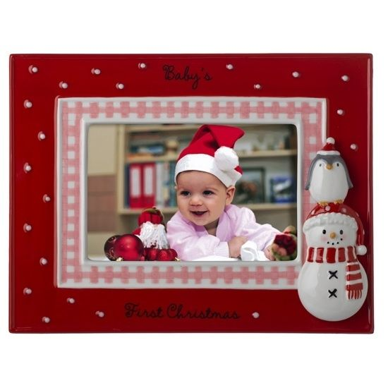 babys first christmas frame pink