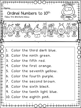 Halloween Math Ordinal Numbers Monster Themed Ordinal Numbers Halloween Math Worksheets Ordinal Numbers Kindergarten